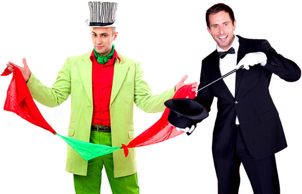 Two magicians superimposed side by side. One wears a colourful costume and displays silk scarves, the other is dressed in a formal outfit and waves a magic wand.